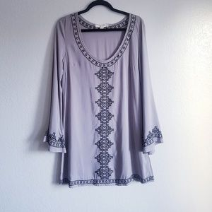 Lovestitch | Embroidered Bell Sleeve Tunic Dress